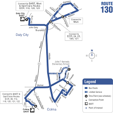 San Jose Bus Routes Map by 130 Bus Route Samtrans Sf Bay Transit