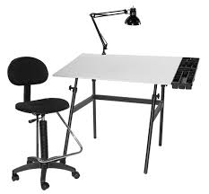 White Drafting Table Berkley Classic Black Base Drawing Table W Drafting Height Chair