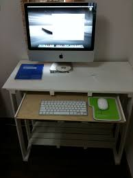 imac desk decor imac desk ideas with slide out drawer and bench also
