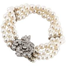 bracelet diamond pearl images Three strand pearl diamond bracelet for sale at 1stdibs jpg