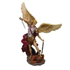 archangel st michael hand painted color christian art statue