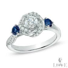 engagement rings with blue stones vera wang collection 5 8 ct t w and blue sapphire