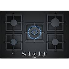 Bosch Cooktops Bosch 75cm Series 6 Black Tempered Glass Gas Cooktop With
