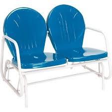 Patio Loveseat Glider Vintage Metal Glider Double Patio Porch Deck Blue Bench Retro