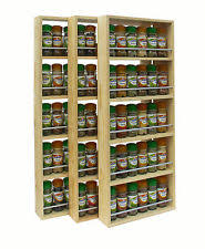 Wall Mount Spice Rack With Jars Pine Spice Rack Ebay