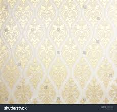 Interior Texture by Floral Wallpaper Pattern Light Yellow Abstract Stock Photo