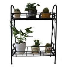 2 tier metal shelves indoor plant stand display flower pots racks