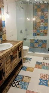 mexican style tile grey finish varnished wooden floral pattern