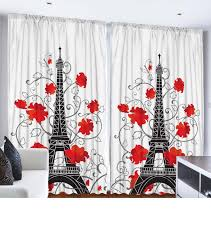 108 Inch Black And White Curtains Amazon Com Eiffel Tower Paris Decor For Bedroom Digital Print