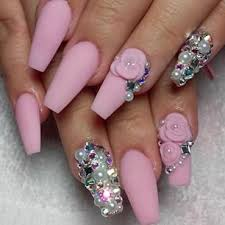 imagenes de uñas acrilicas con pedreria uñas rosa mate con pedrería nails pinterest pedreria uñas