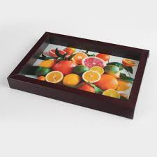 themed serving tray this fruits themed brown frame serving tray is a unique serving tray