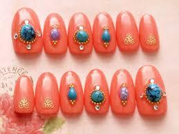 oval nail cute nails press on nail ethnic nail art orange