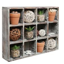 amazon com freestanding dark brown wood shelf rack wall