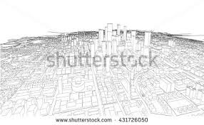 wireframe cityscape vector sketch architecture illustration stock