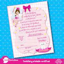 tooth fairy certificate printable certificate toothfairy