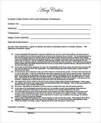 sample cake order form template cake bakery disclaimer forms 23