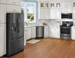 white kitchen cabinets and black stainless steel appliances frigidaire gallery black stainless steel appliances connection