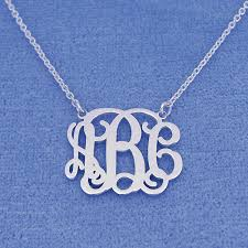Monogrammed Necklace Small Silver 3 Initials Monogram Necklace Pendant 3 4 Inch
