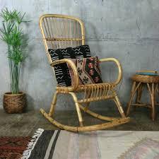 Bamboo Rocking Chair Bohemian Rattan Bamboo Rocking Chair Mustard Vintage