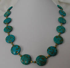 turquoise gold necklace images Teal and gold mosaic turquoise necklace darqlady on artfire jpg
