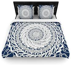 patternmuse mandala spin navy blue white cotton duvet cover twin 68