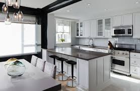 Black Modern Kitchen Cabinets Kitchenschic Modern Kitchen With Black Bar Table And White Modern