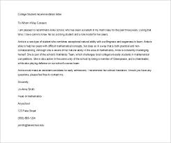 College Letter Of Recommendation From 8 Letter Of Recommendation For Student Free Sle Exle