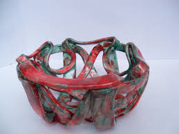 ceramic fruit bowl bread warmer pottery red aqua modern home