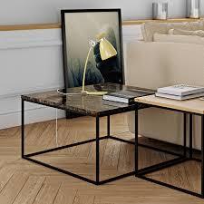 gleam brown marble black modern coffee table eurway