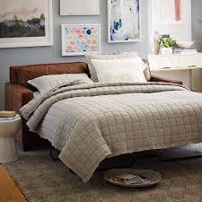 henry basic queen sleeper leather sofa molasses west elm