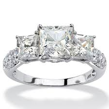 cubic zirconia engagement rings white gold 3 06 tcw princess cut cubic zirconia engagement anniversary ring