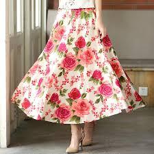 hawaiian pattern skirt shanghai story women long skirt hawaii flower blend linen long shirt