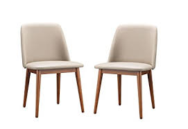 Leather Dining Room Chairs With Arms Baxton Studio Set Of 2 Lavin Mid Century Walnut