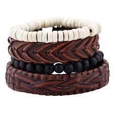 leather bracelet man images 4pcs set handmade rope leather bracelet man beads charm wrap jpg