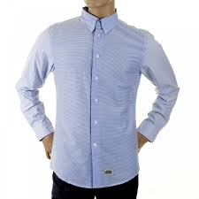 buy mens button down blue striped shirt by rmc clothing