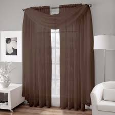 Crushed Sheer Voile Curtains by Platinum Collection Crushed Voile Sheer Scarf Valance Brown 50