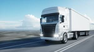 concept semi truck white truck semi trailer on the road highway transports
