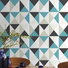 Tapisserie Cuisine 4 Murs by Papier Peint Graphique à Motif Triangles Noir Blanc Et Bleu Chez