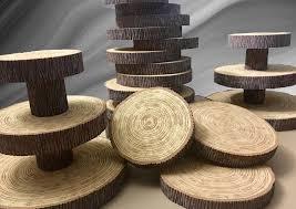 styrofoam tree slices stumps wedding cake cupcake stand