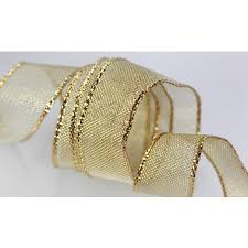 metallic mesh gift ribbon in gold and silver box and wrap