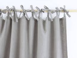 Tie Top White Curtains Natural Gray Rod Pocket Linen Curtain Sevensmith