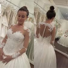 elegant lace appliques tulle wedding dress 2017 button zipper