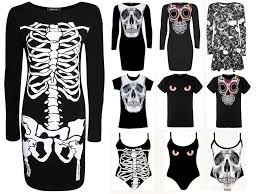 women ladies black skeleton skull dress for halloween party