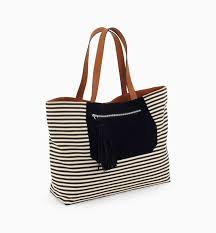 nautical bag roomy nautical bag navy blue stripes women bags promod