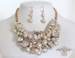 pearl crystal statement necklace images Pearl bridal jewelry set statement necklace chunky pearl jpg