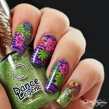 jungle love multicolor stamped tropical flowers nail art video