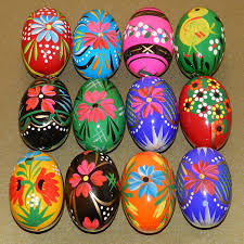 painted wooden easter eggs 12 wooden eggs pysanky wooden easter