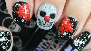 halloween nails halloween nail art creepy skull clown youtube