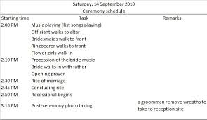 planning a wedding ceremony sle wedding ceremony timeline via budgetbridesguide wedding