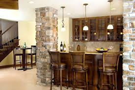home basement bar design idea with wooden bar table and three